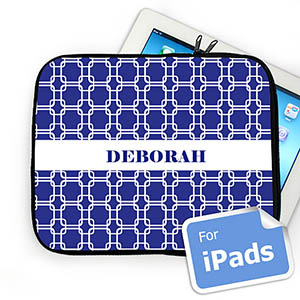 Custom Name Blue Links iPad Sleeve