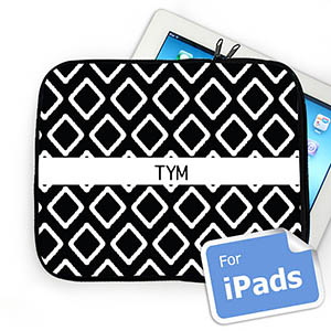 Custom Initials Black Lkat Ipad Sleeve