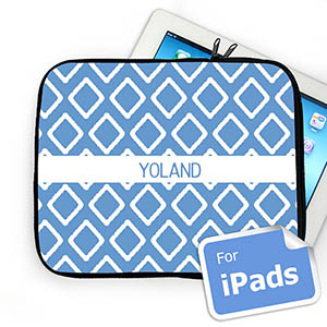 Custom Name Sky Blue Lkat iPad Sleeve