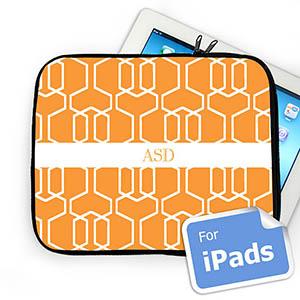 Custom Initials Orange Trellis Ipad Sleeve