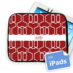Custom Initials Red Trellis Ipad Sleeve