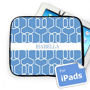 Custom Name Sky Blue Trellis iPad Sleeve