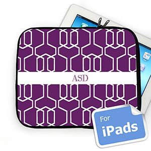 Custom Initials Purple Trellis Ipad Sleeve