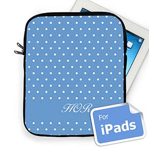 Custom Initials Sky Blue Polka Dots Ipad Sleeve