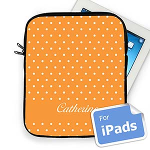 Custom Name Orange Polka Dots iPad Sleeve