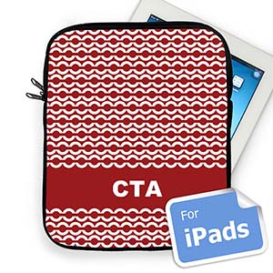 Custom Initials Red Chain Ipad Sleeve