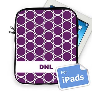 Custom Initials Purple Hoopla iPad Sleeve