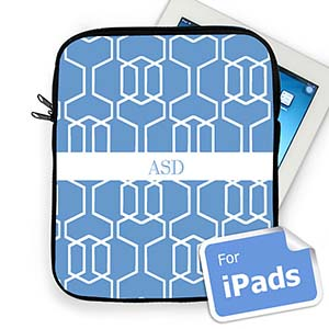 Custom Initials Sky Blue Trellis iPad Sleeve