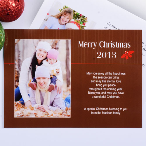 Create My Own Holly Spring Christmas Portrait Photo Invitation Cards