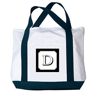 Printed Custom Monogram Black & White Canvas Bag, Navy