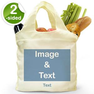 Custom Front And Back Folded Shopper Bag, Full Landscape Image