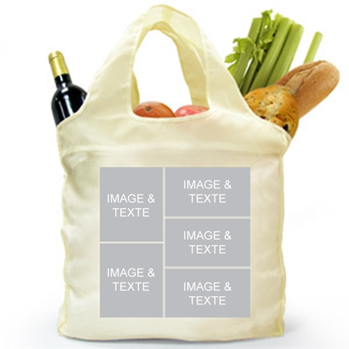 Customize 2 Sides 5 Collage Folded Shopper Bag, Elegant