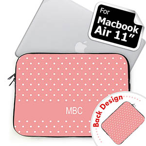Personalized Both Sides Custom Initials Pink Polka Dots Macbook Air 11 Sleeve