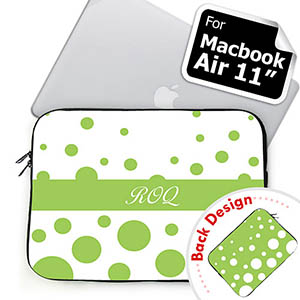 Customize 2 Sides Personalized Initials Lime Retro Circles Macbook Air 11 Sleeve