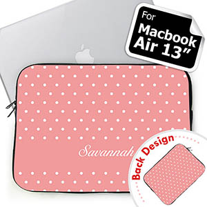 Personalized Both Sides Custom Initials Pink Polka Dots Macbook Air 13 Sleeve