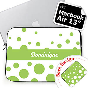 Customize 2 Sides Personalized Initials Lime Retro Circles Macbook Air 13 Sleeve