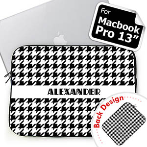 Custom 2 Sides Personalized Name Black Hounds Tooth Macbook Pro 13 Sleeve (2015)
