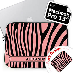 Personalized Both Sides Custom Name Black & Pink Zebra Pattern Macbook Pro 13 Sleeve (2015)