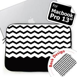 Custom 2 Sides Personalized Name Black Chevron Macbook Pro 13 Sleeve (2015)