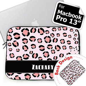 Custom 2 Sides Personalized Initials Pink Leopard Pattern Macbook Pro 13 Sleeve (2015)