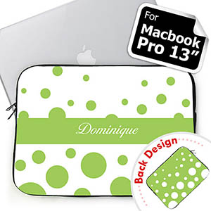 Customize 2 Sides Personalized Initials Lime Retro Circles Macbook Pro 13 Sleeve