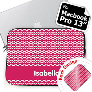 Custom 2 Sides Personalized Initials Hot Pink Chain Macbook Pro 13 Sleeve (2015)