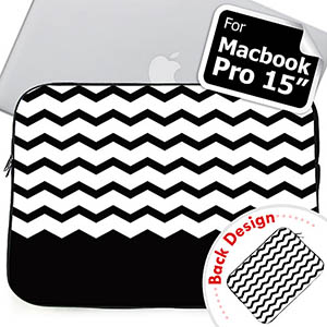 Personalized 2 Sides Personalized Name Black Chevron Macbook Pro 15 Sleeve