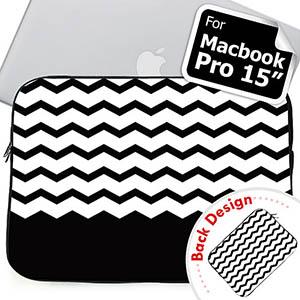 Personalized 2 Sides Personalized Name Black Chevron Macbook Pro 15 Sleeve (2015)