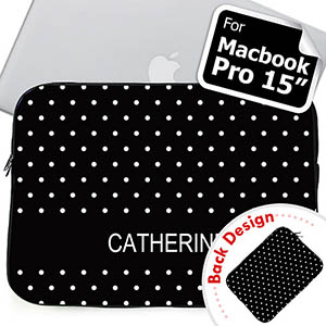 Custom Front And Back Personalized Name Black Polka Dots Macbook Pro 15 Sleeve (2015)