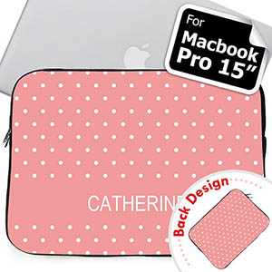 Personalized Both Sides Custom Initials Pink Polka Dots Macbook Pro 15 Sleeve (2015)