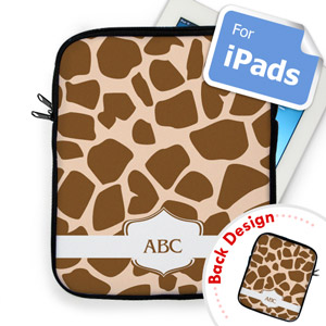 Custom Front And Back Brown Giraffe Pattern Ipad Sleeve
