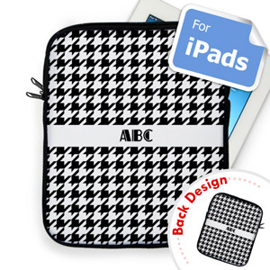 Custom Front And Back Black Hounds Tooth Ipad Sleeve