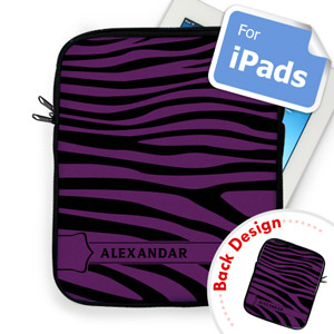 Custom Front And Back Purple Zebra Pattern Ipad Sleeve
