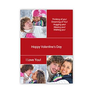 Collage Memories Personalized Valentine Card, 5X7 Flat