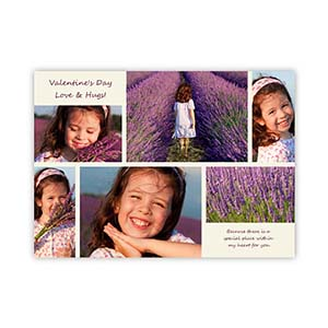 Valentine Collage Personalized Photo Card, 5X7 Flat
