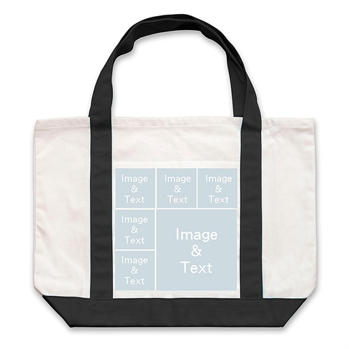 Six Square Collage Personalized Tote Bag, Black