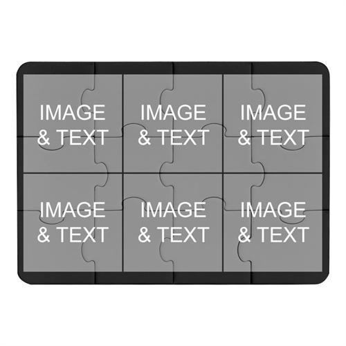 Instagram Six Collage Black Puzzle Invitation
