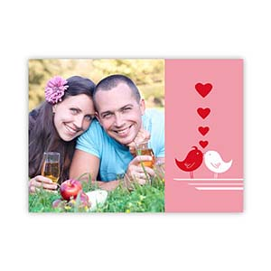 Love Birds Personalized Photo Valentine Card, 5X7 Flat