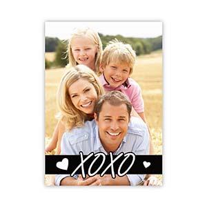 Xo Outline Personalized Photo Valentine Card, 5X7 Flat