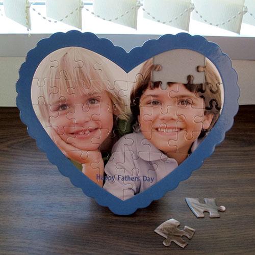 We Heart Grandpa Personalized Heart Shape Puzzle