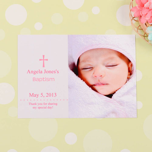 Print Your Own Memorable Moment – Pink Baptism Photo Invitation Cards