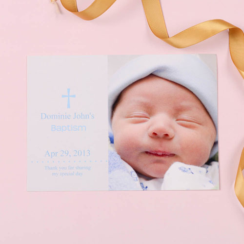 Memorable Moment – Blue Baptism Photo Invitation