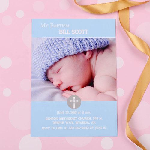 Print Your Own Elegant Cross – Spa Baptism Photo Invitation Cards