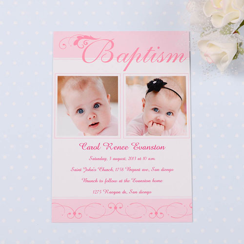 Print Your Own Fashionable Fonts – Soft Pink Baptism Photo Invitation Cards
