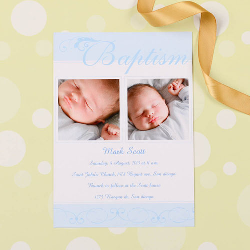 Print Your Own Fashionable Fonts – Blue Baptism Photo Invitation Cards