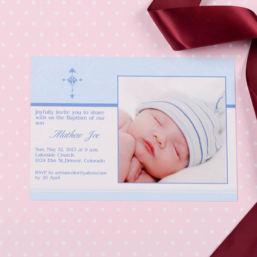 Print Your Own Perfect Angle  Stream Baptism Photo Invitation Cards