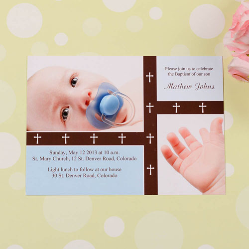 Print Your Own Crossing Bands – Aloe Baptism Collage Invitation Cards