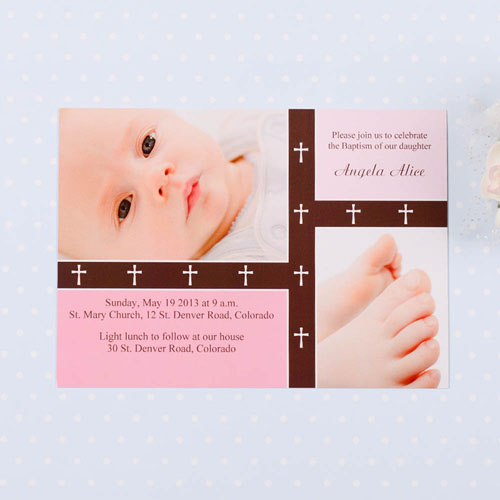 Print Your Own Crossing Bands – Tea Rose Baptism Collage Invitation Cards