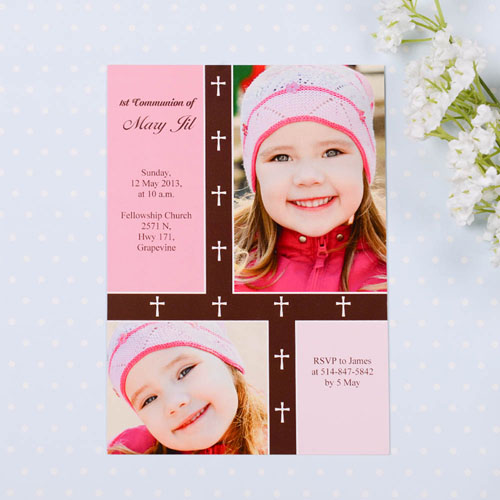Print Your Own Organic Cross – Girl Collage Communication Invitation Cards