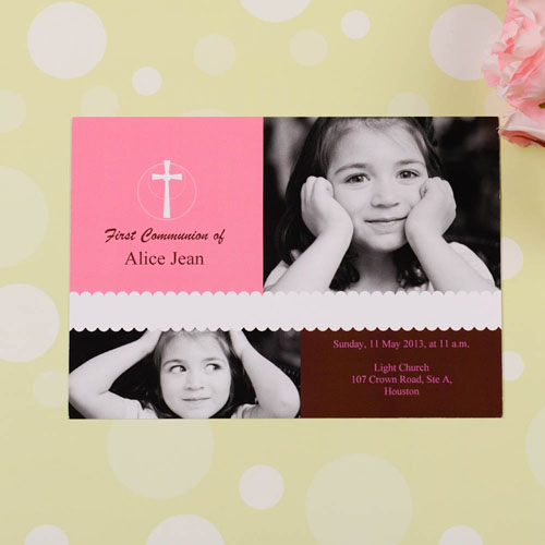 Print Your Own Pink Cross Collage Communication Invitation Cards